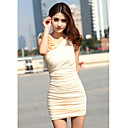Dame elegant wei Slim Kleid