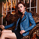Long Sleeve Turndown Collar Casual PU Jacket(More Colors)