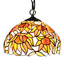 60W 1 - Light Tiffany Glass Pendent Light in Floral Designed Shade