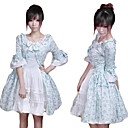 Half-Sleeve Knee-length Blue Floral Cotton Country Lolita Dress