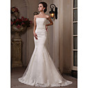 tromba / sirena straplesssweep / spazzola treno tulle abito da sposa in raso