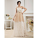 A-line One Shoulder Floor-length Lace Wedding Dress