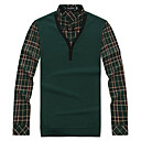 Men's V Neck Check Two Pieces Like Knitwear