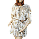 Elegante manga larga sin cuello Rabbit Fur Coat noche