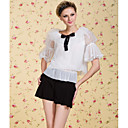 TS VINTAGE Bow Tie Short Sleeve Mesh Blouse