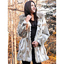 Elegant Long Sleeve Hooded Raccoon Collar Evening Rabbit Fur Coat