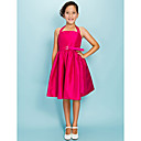 Ball Gown Halter Knee-length Taffeta Junior Bridesmaid Dress