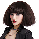 Capless Short Brown Curly High Quality Synthetic Japanese Kanekalon Wigs