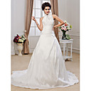 A-line Halter Chapel Train Taffeta Ruffles Wedding Dress