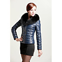 Elegant Long Sleeve Fox Fur Collar Casual/Evening Lambskin Leather Jacket with Down(More Colors)