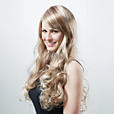 Capless extra lange kunststof goudblonde met licht blonde krullen pruik