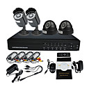 4 canales DVR de Vigilancia Home Security Camera System (2 cámara domo y cámara de 2 Warterproof Night Vision)