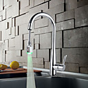 Solid Brass Chrome Finish Kitchen Faucet with Color Changing LED Light