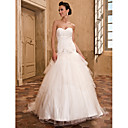 A-line Sweetheart Strapless Chapel Train Organza Crystal Detailing Wedding Dress