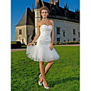 Sheath/Column Sweetheart Knee-length  Lace And Tulle Wedding Dress