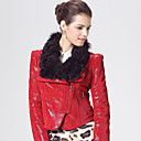 Pretty Long Sleeve Lamb Fur Collar Lambskin Leather Jacket(More Colors)