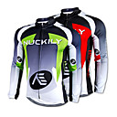 NUCKILY-100% Polyester Long-Sleeve Cycling Jersey with Fleece Side (Red/Green)