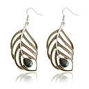 Charming Alloy Feather Design Drop Earrings