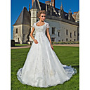 A-line Scoop Chapel Train Organza Wedding Dress With A Wrap