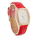 Women's PU Quartz Movement Glass Rectangle Shape with Rhinestone Dress Watch(More Color)