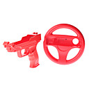 6-in-1 Accessories Kit for Wii(Contain 2 Battery Covers,2 Wrist Straps,1 Steering Wheel,1 Laser Gun,Red)