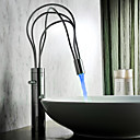 Contemporary Chrome Finish Single Handle LED Bathroom Sink Faucet(Tall)