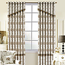 (Two Panels) Country Floral Jacquard Energy Saving Curtains