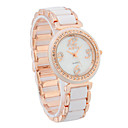 Elegant Women's Alloy Quartz Movement Glass Round Shape with Crystal Dress Watch(More Color)