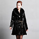 Long Sleeve Fox Fur Shawl Collar Mink Fur Evening/Career Coat