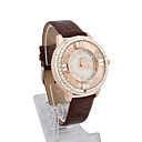 Women's PU Quartz Movement Glass Round Shape Dress Watch