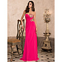 Sheath/Column Sweetheart Strapless Floor-length Chiffon Evening Dress With Beading
