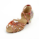Women's Rhinestone / Satin Upper Ankle Strap Salsa / Latin Dance Shoes With Pearl
