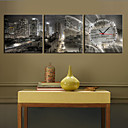 12&quot;-24&quot; Modern Scenic Wall Clock in Canvas 3pcs K0005