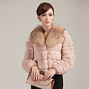 Long Sleeve Raccoon Fur Collar Evening Rabbit Fur Jacket(More Colors)