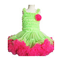 PettiDress Apple Green With Pink Ruffle Chiffon Flower Girl Dress