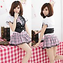 Sweet Black and White and Pink Polyester School Uniforms with Check Pattern (4 Pieces)
