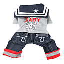 Rock Sailor Style Shirt with Pants for Dogs (XS-XL)