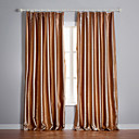 (Two Panels) Khaki Stripe Jacquard Room Darkening Curtains