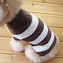Stripe Pattern Turndown Collar Style Sweater for Dogs Cats (Brown,XS-M)