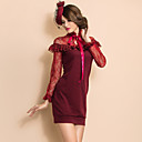 TS VINTAGE Layered Ruffle Lace Stitching Jersey Dress