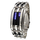 LED Bule-Light Digit Stainless Steel Wrist Watch with Weekday Display
