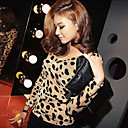 Damen Basic V Neck Backless Sexy Leopard-Shirt