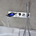 Chrome Finish Color Changing Wall Mount Tub Faucet With Hand Shower