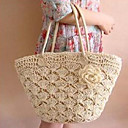 Women's Hook Flower Woven Tote