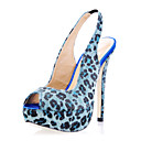 Suede Upper Stiletto Heel Slingbacks With Animal Print Party/ Evening Shoes More Colors Available