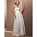Sheath/Column Sweetheart Floor-length Satin And Lace Wedding Dress