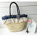 Donna Polka Dot Lace Tote tessuto blu