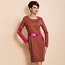 TS Simplicity Contrast Color PU Splicing Sheath Dress With Belt