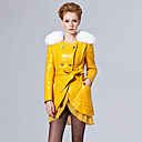 Long Sleeve Fox Fur Turndown Collar Lambskin Leather Casual/Party Coat With Belt (More Colors)