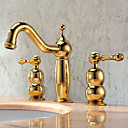 Solid Brass Two Handles Bathroom Sink Faucet(Ti-PVD Finish)